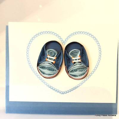 Baby Booties Blue Quilling Gift Enclosure