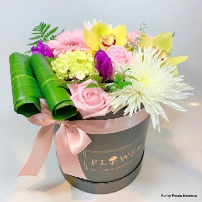Funky Petals Signature Collection Mixed Flower Box w/pink ribbon