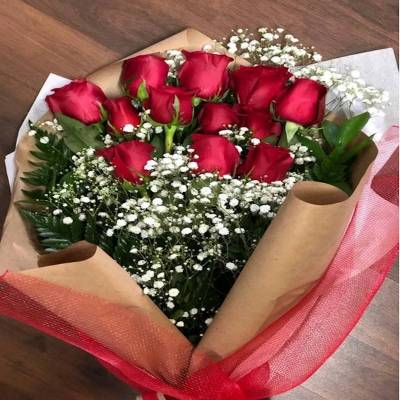 Dozen Red Roses : no vase 50 cm
