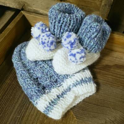 Hand Knit - Boy Baby Booty and Hat set
