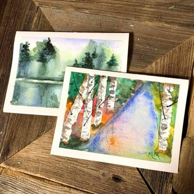 Card - Hand Painted Forest