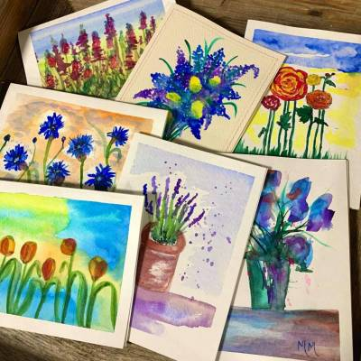 Card - Hand Painted Flowers