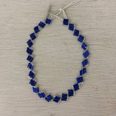 Necklace Beaded Quill Blue