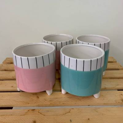 Pot Footed Pink and Teal